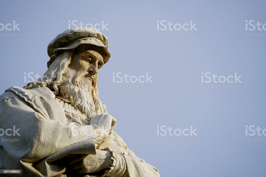 head of Leonardo da Vinci stock photo