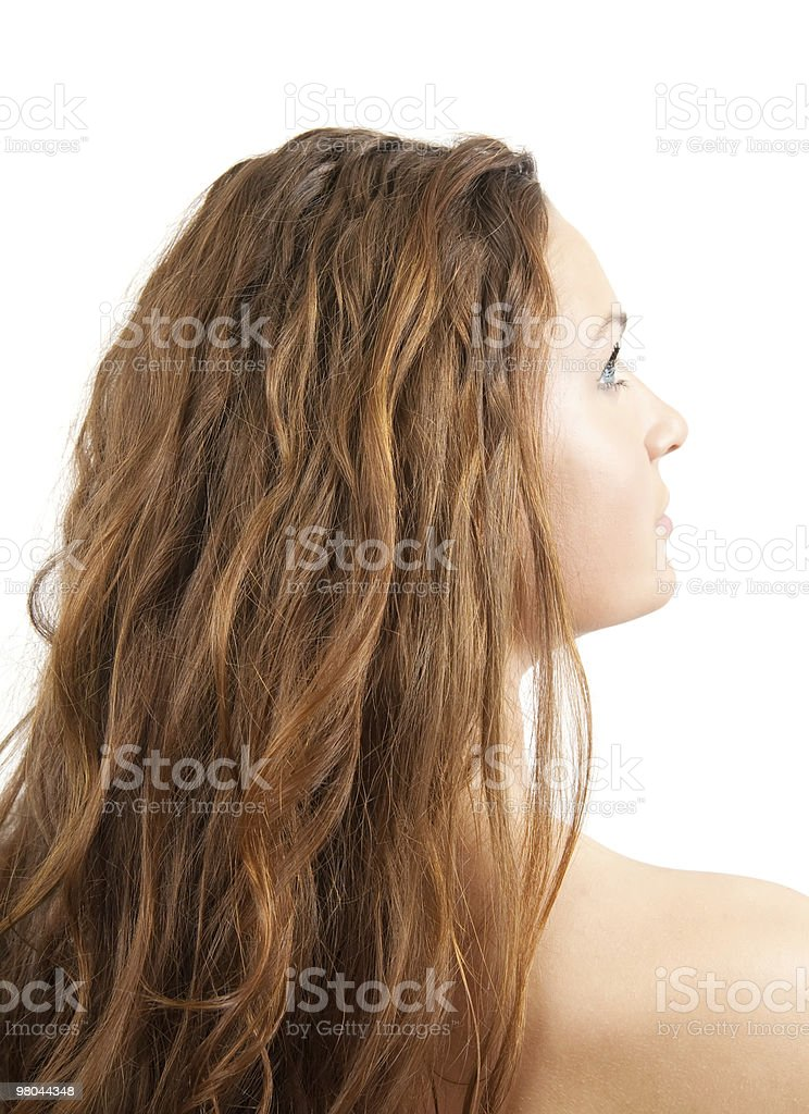 Head of long-haired girl over white royalty-free stock photo