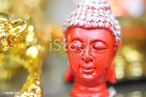 Head Of Lord God Gautam Buddha Red Stone Meditation Statue