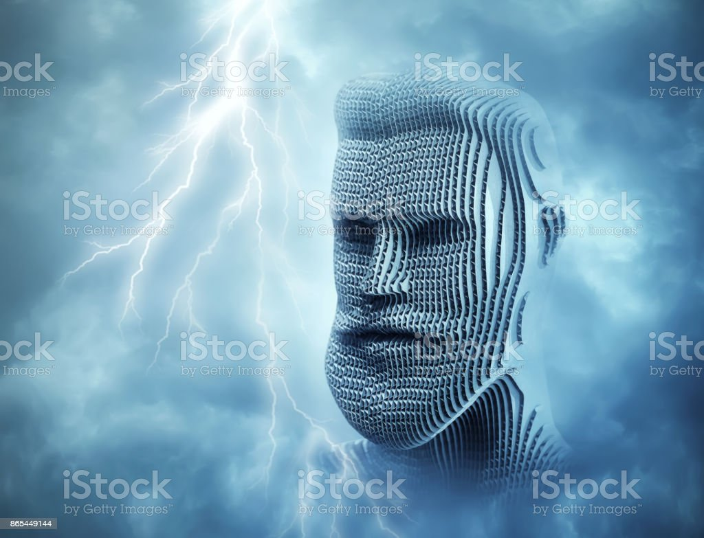 Head of man in front of blue thunder sky stock photo