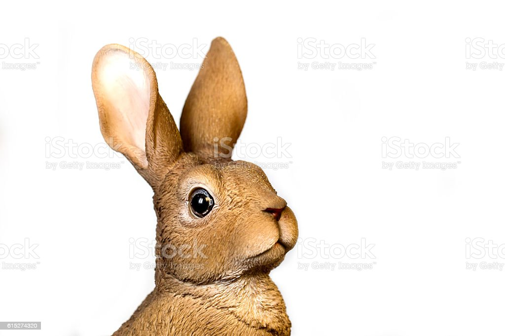 Head of Realistic Rabbit Statue Looking At Camera stock photo