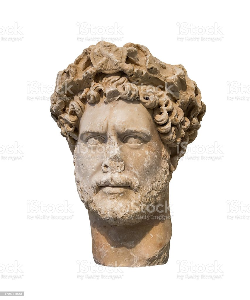 Head of Roman emperor Hadrian (Reign 117-138 AD), isolated stock photo