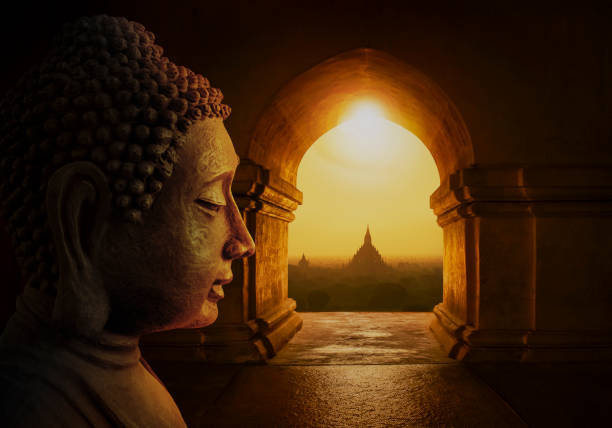 hoofd van de boeddha - buddha stockfoto's en -beelden