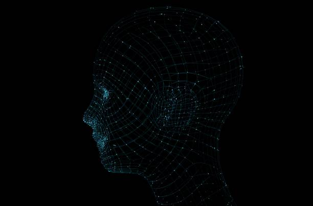 head of the person from a 3d grid. - row of heads stock photos and pictures