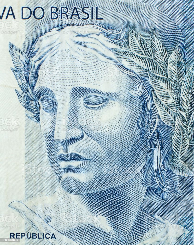 Head of the Republic on the fragment banknotes of the brazilian real close up stock photo