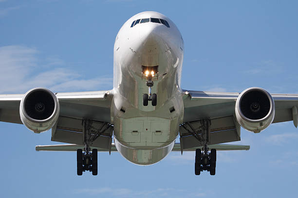 head on airplane stock photo