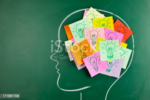 istock Head on chalkboard with light bulb notes inside 171357703