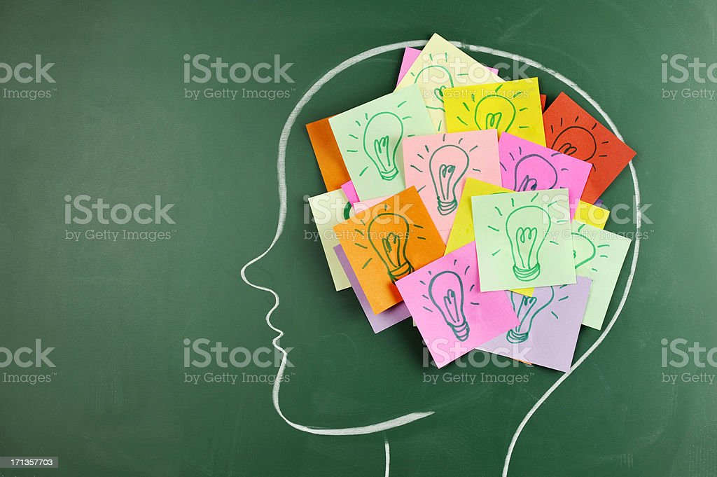 Head on chalkboard with light bulb notes inside stock photo