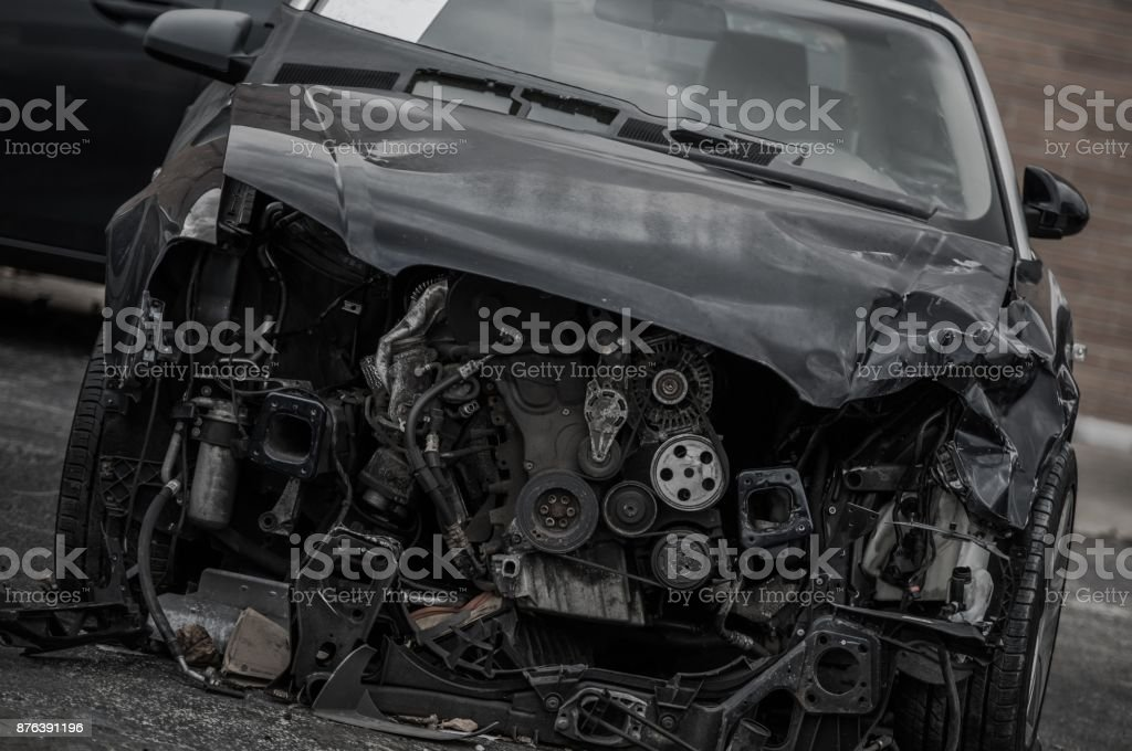 Head On Collision Wreck stock photo