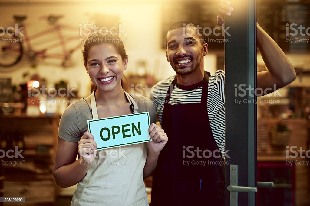 Head on down to us for your next coffee break stock photo