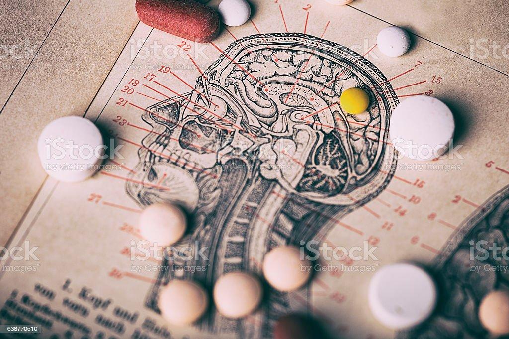 Head section with pills - Lizenzfrei Alt Stock-Foto
