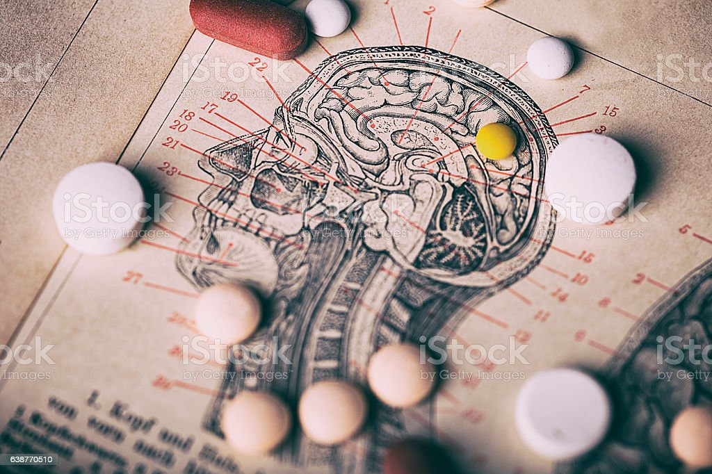 Head section with pills stock photo