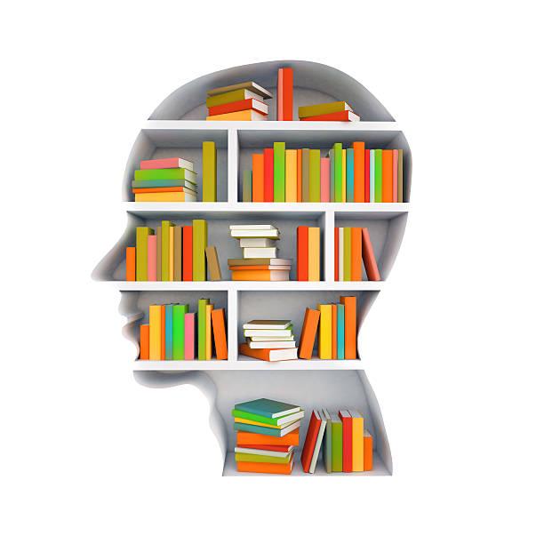 Head shaped bookshelf full of books on white background stock photo