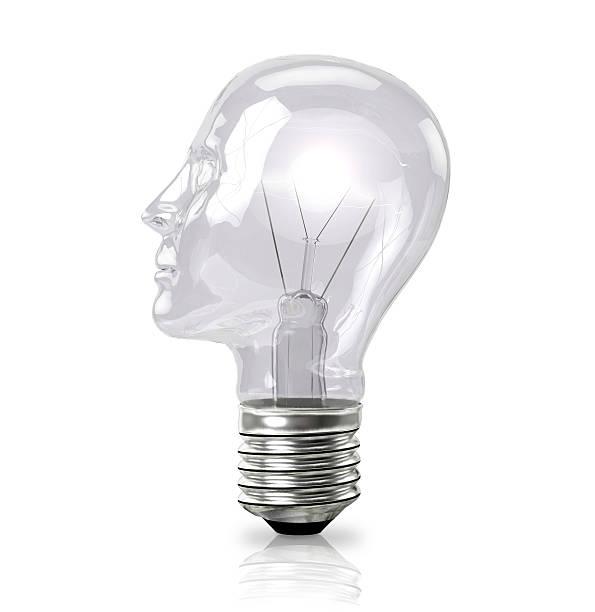 Head shaped bulb stock photo