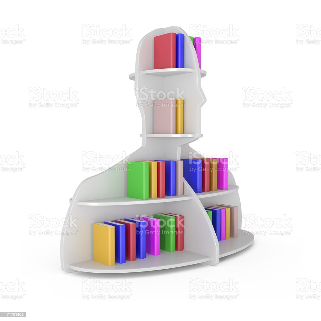 Head Shelf with Books isolated on white royalty-free stock photo