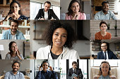 istock Head shot diverse business people partners engaged in online conference 1290123056