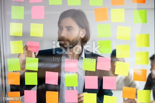 1147760705 istock photo Head shot focused young professional standing near kanban board. 1188857017