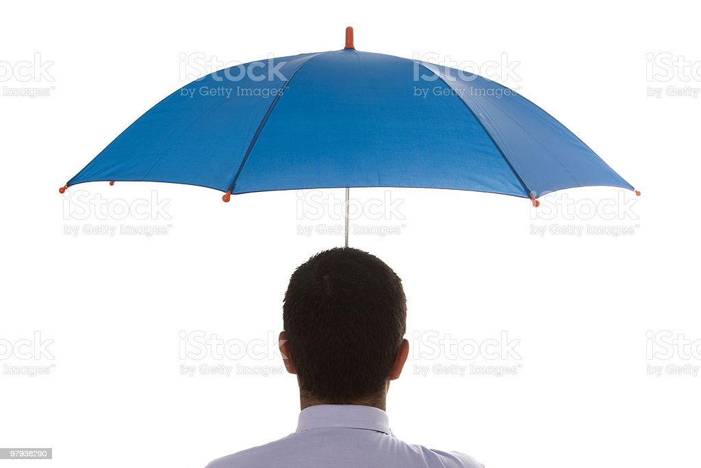 Head shot of a man holding blue umbrella on white background royalty-free stock photo