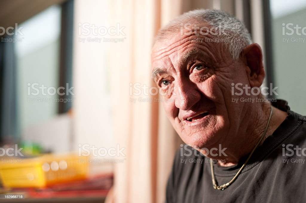 Head shot of a sixty-nine year old man stock photo