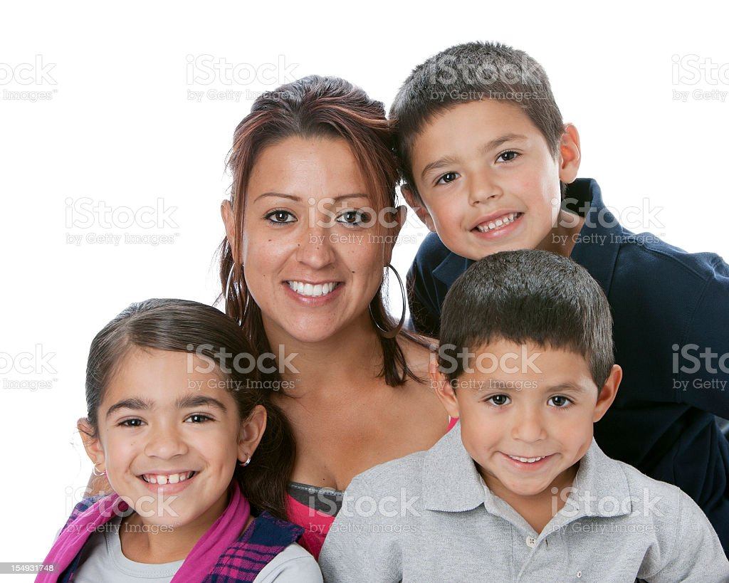 Head shot of Hispanic mother with smiling children stock photo