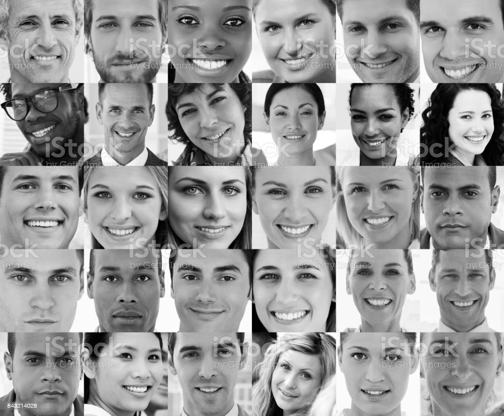Head shot profile pictures of smiling applicants stock photo