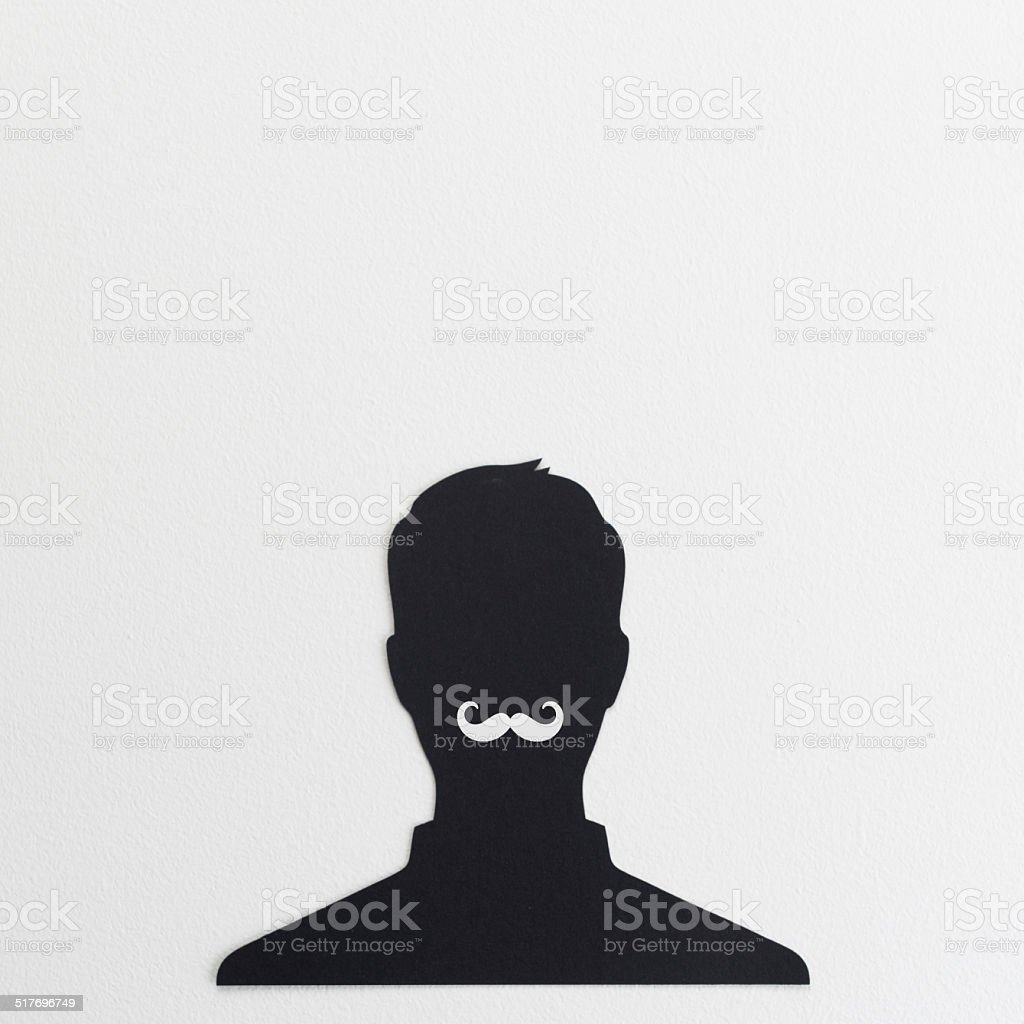 Head silhouette with mustache stock photo