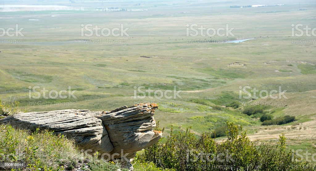 Head Smashed in Buffalo Jump cliffs and scenery - Alberta stock photo