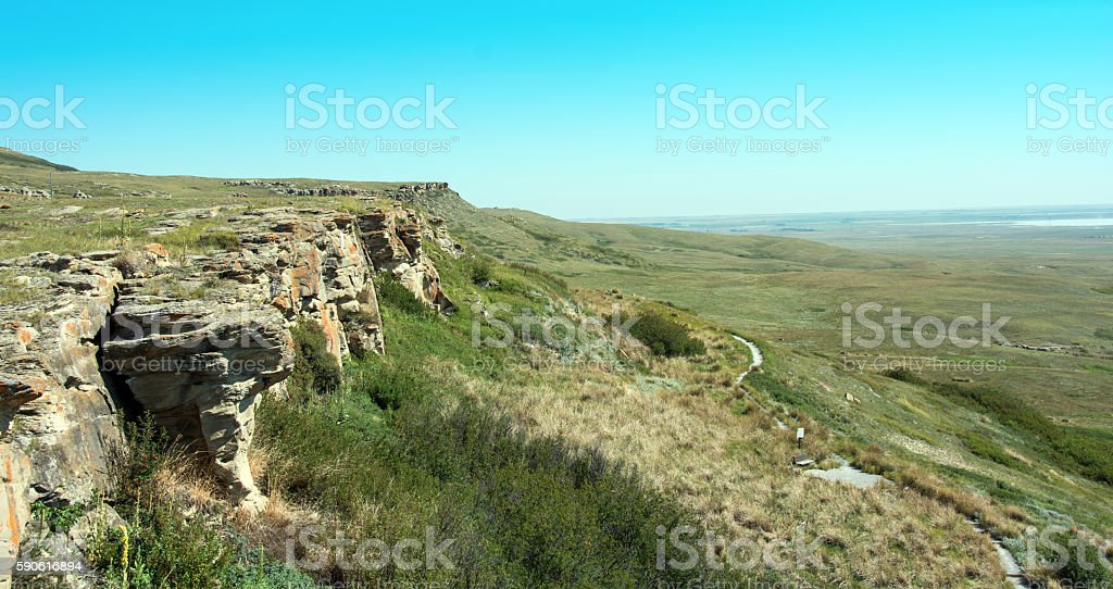 Head Smashed in Buffalo Jump cliffs and trail - Alberta stock photo