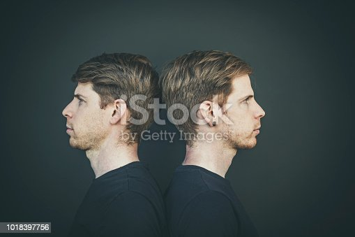 twin brothers head to head portrait, side view.