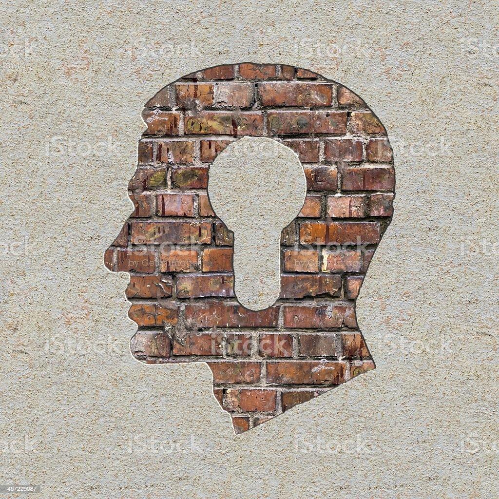 Fahren Sie mit einem Keyhole-Symbol an der Wand. - Lizenzfrei Akademisches Lernen Stock-Foto