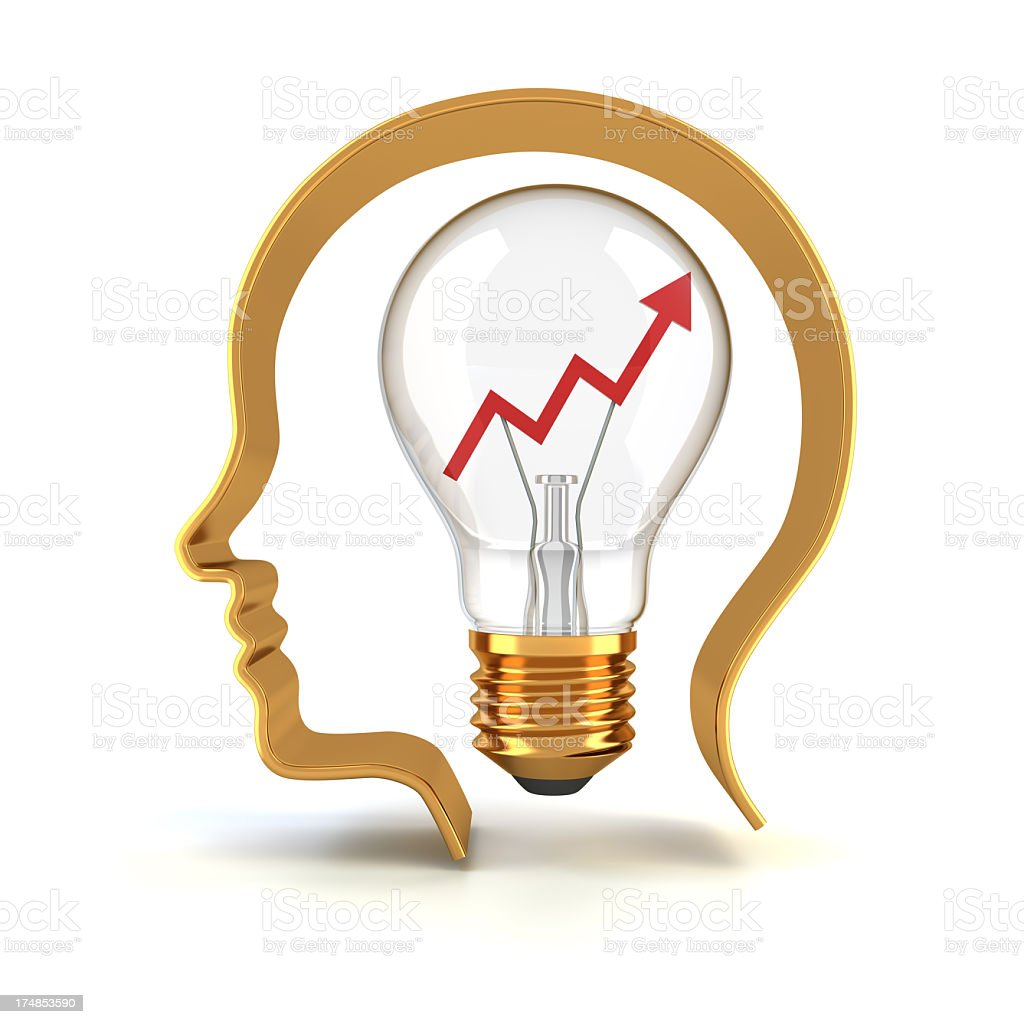 Head with a lightbulb in it meaning innovation royalty-free stock photo