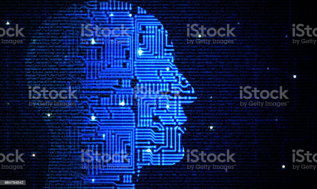 Head with circuit pattern fading into computercode deep leaning concept royalty-free stock photo