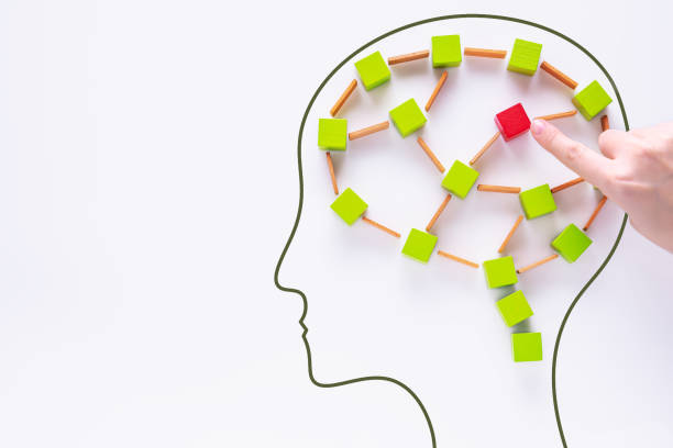 Head with colourful shapes of abstract brain. stock photo