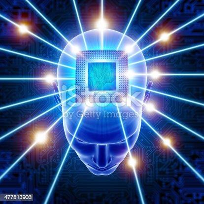 istock Head with CPU circuit hi-tech cyber theme 477813903