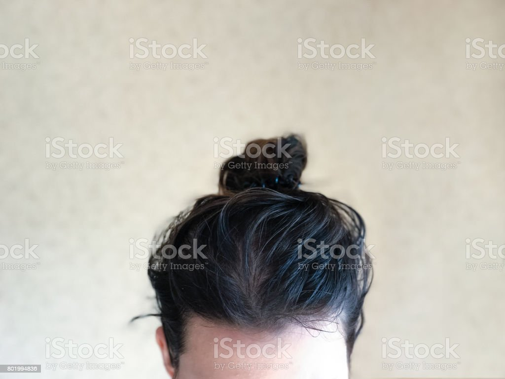 Head with dirty greasy hair stock photo