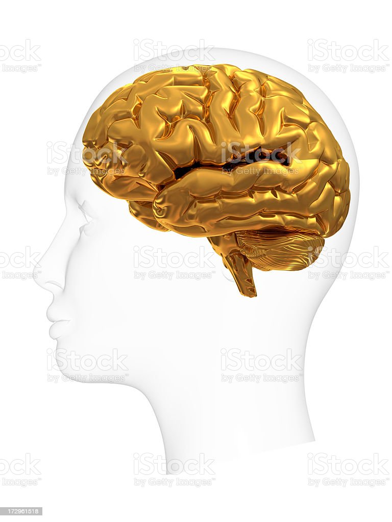 head with gold brain royalty-free stock photo