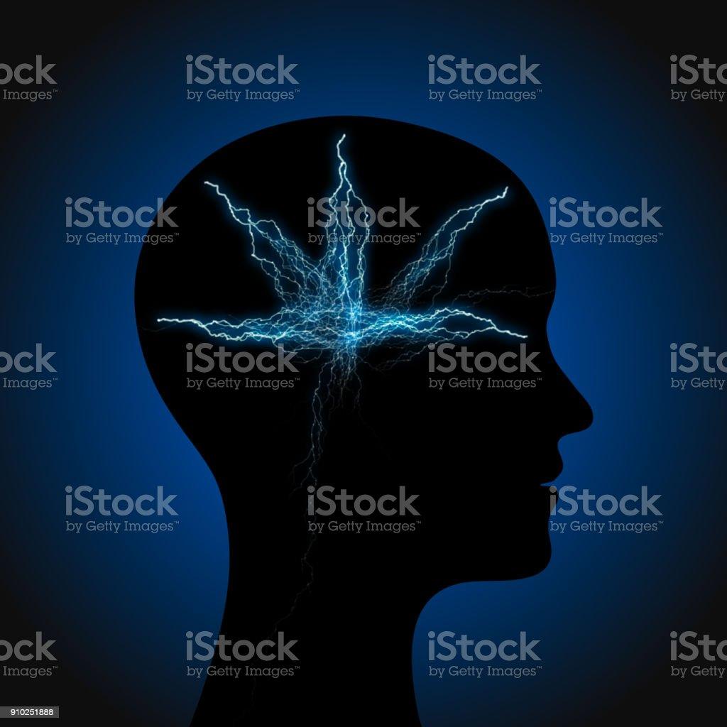 hoofd met lightning foto