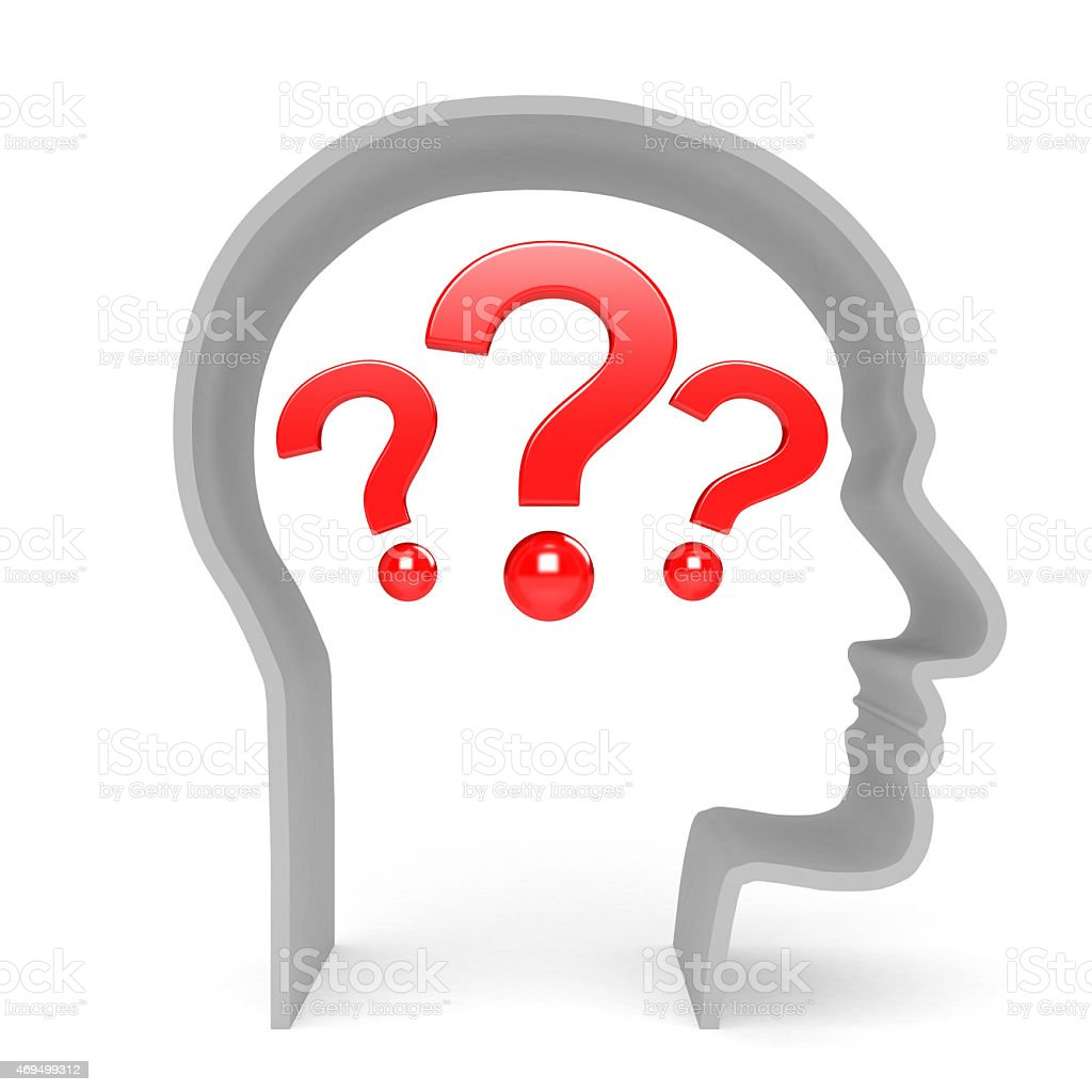Head with question stock photo