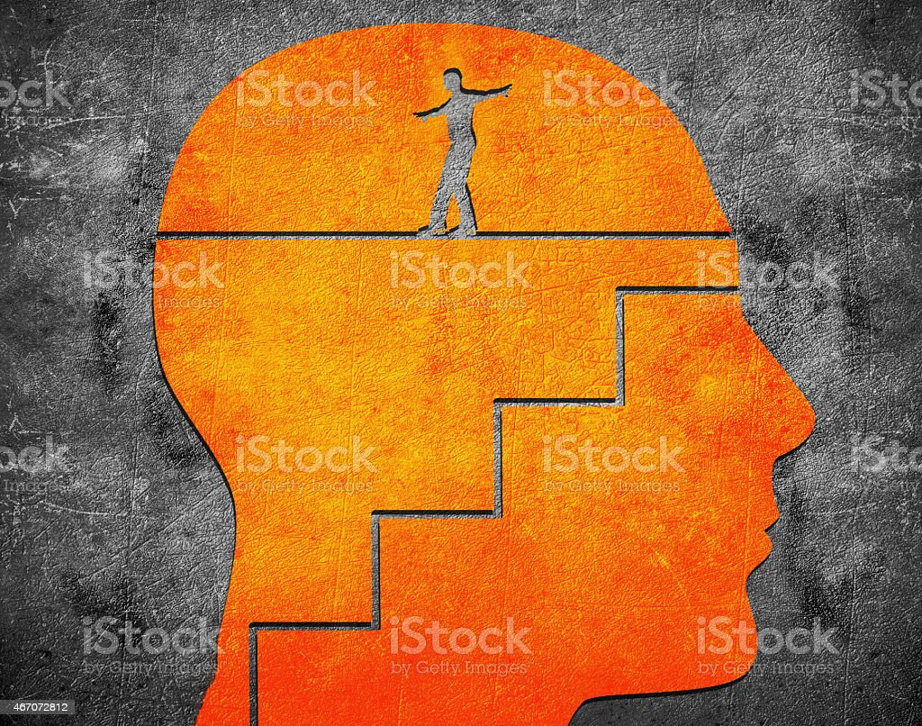 head with staircase and tightrope walker digital illustration stock photo