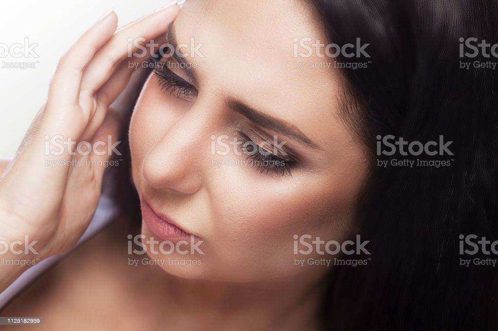 Headache And Stress. Beautiful Young Woman Feeling Strong Head Pain....