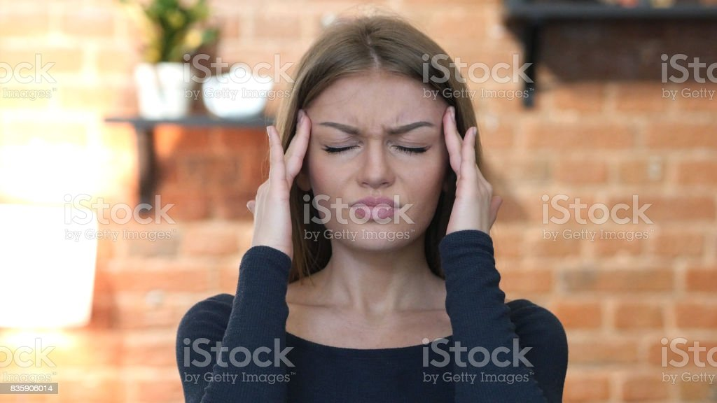 Headache, Frustrated, Tense Young Girl, Portrait stock photo