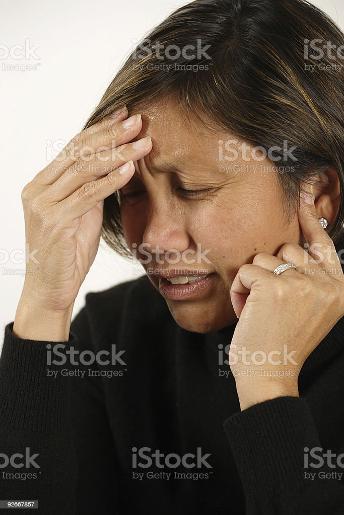 Headache or earache stock photo