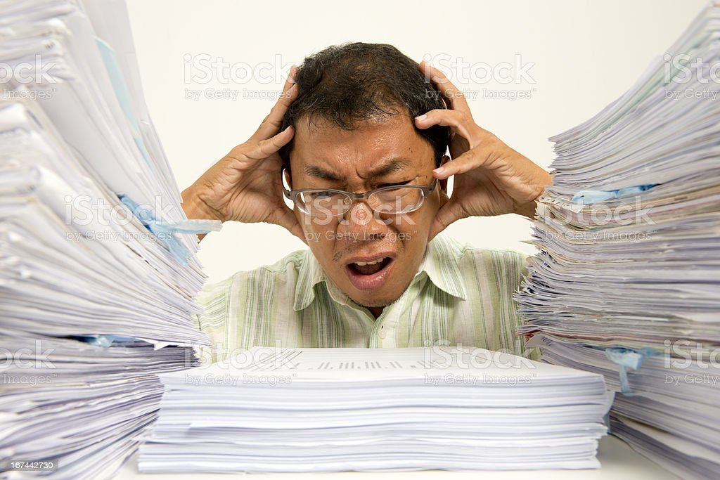 Headache over too much work royalty-free stock photo