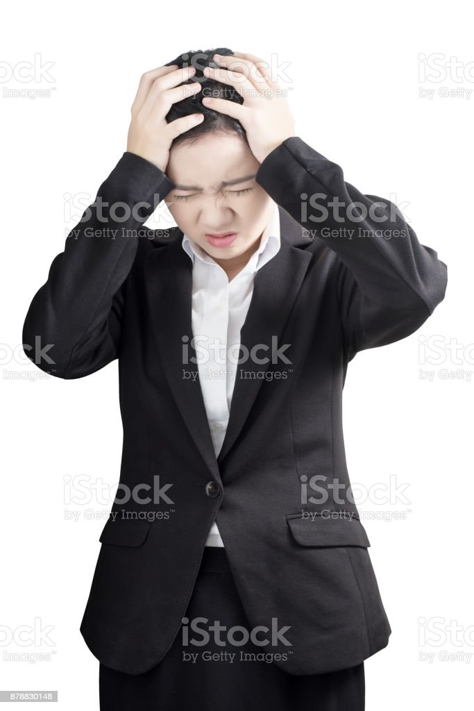 Headache symptom in a businesswoman isolated on white background. Clipping path on white background. stock photo