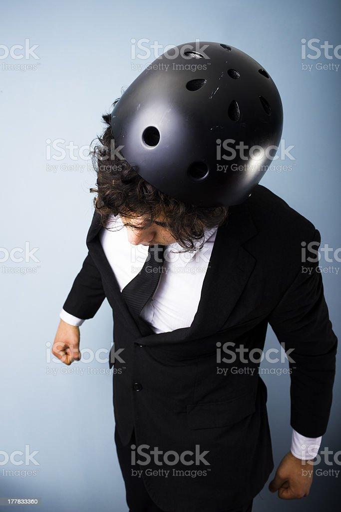 Headbutting through negotiations stock photo