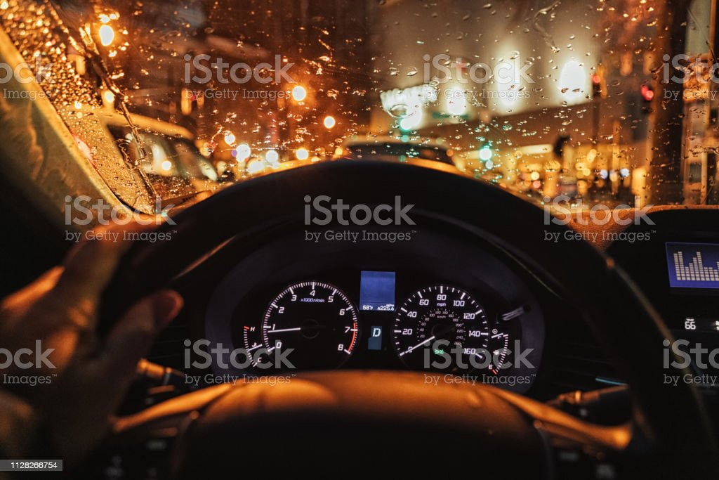 headed home from working late stock photo
