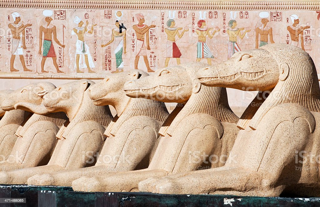 Headed Sphinx and Egyptian fresco royalty-free stock photo