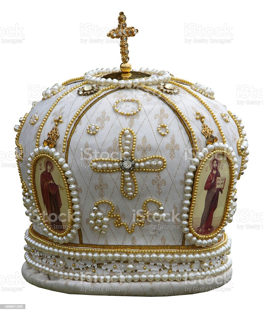 headgear of the orthodox bishop stock photo