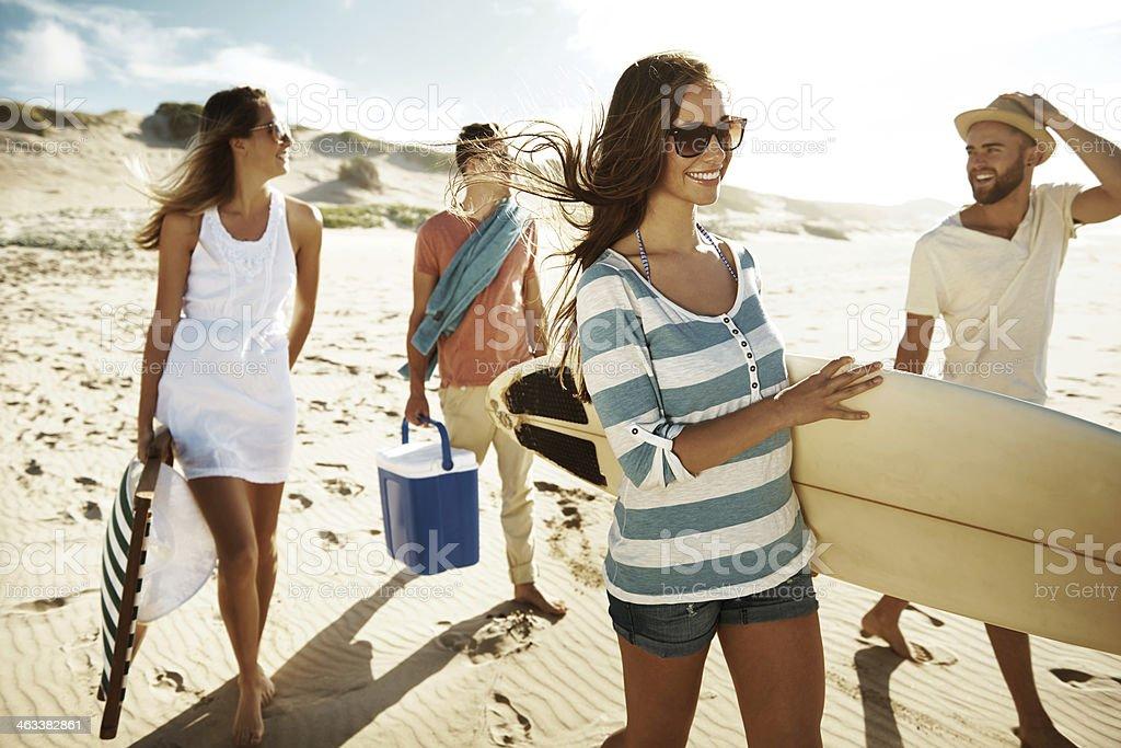 Heading down to the beach stock photo