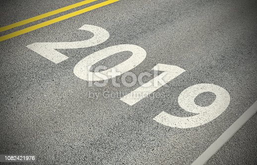 1081330336 istock photo Heading for 2019,  sign, road marking 1082421976